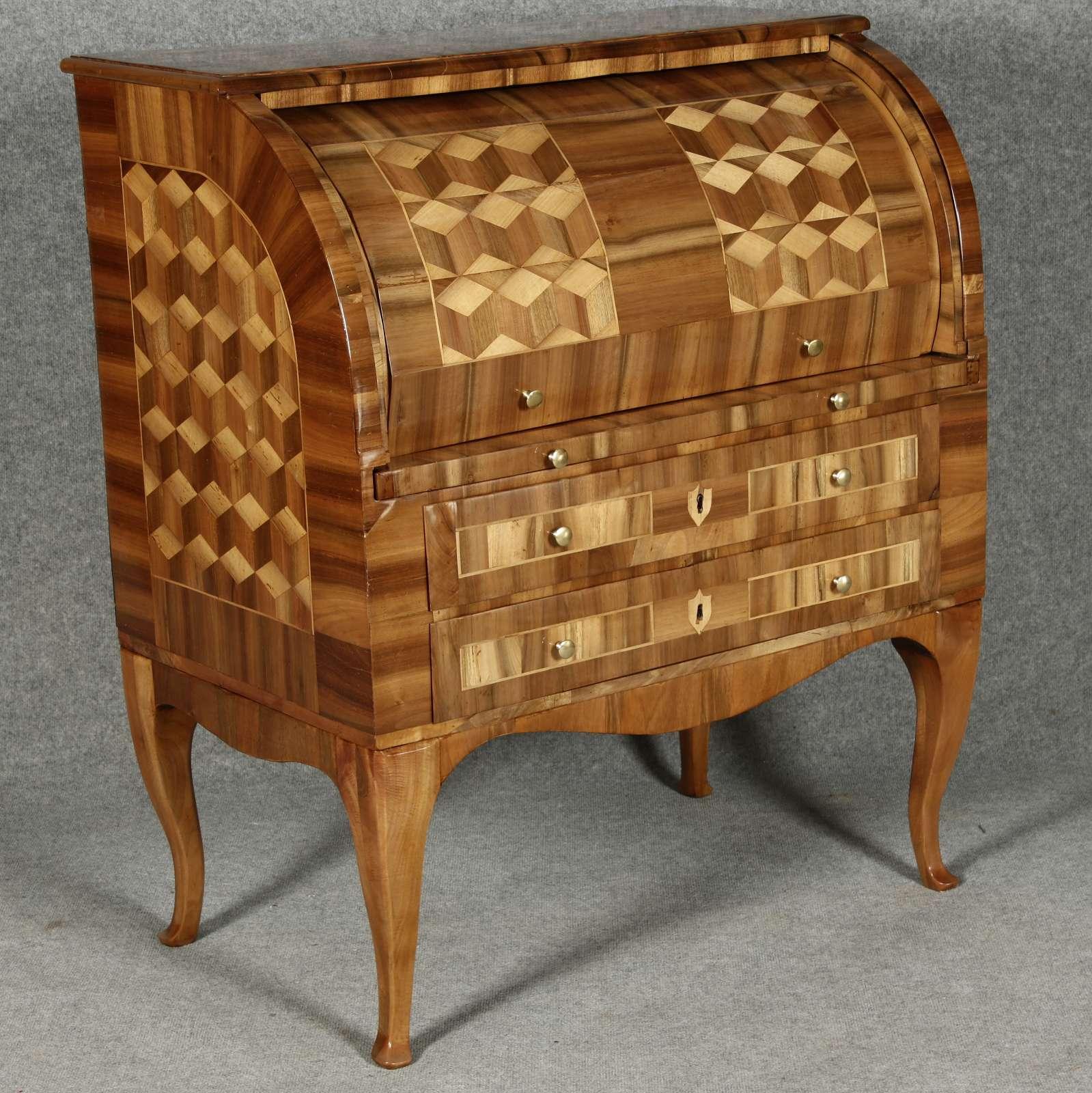 kleiner louis seize rollsekret r nur 1 m breit nussbaum ebay. Black Bedroom Furniture Sets. Home Design Ideas